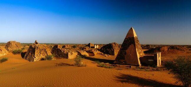 Panorama of Meroe pyramids in the desert at sunset, Sudan,
